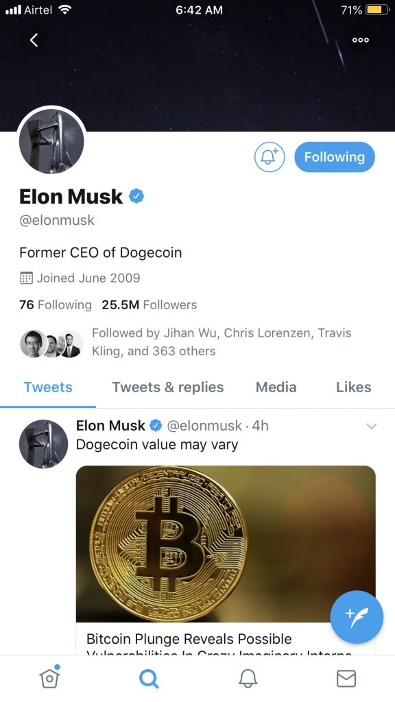Elon Musk is now the former CEO of Dogecoin